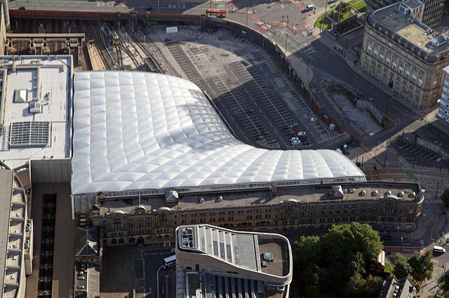 Manchester Victoria station, close to the scene of the pipe burst. Aerial view by Neil Mitchell (via Shutterstock).